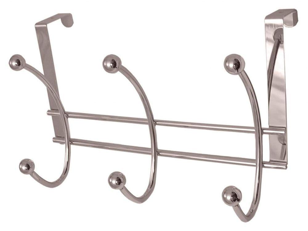 Headbourne 6 Polished Chrome Ball Hooks on Polished Chrome Over The Door Hanger - 265 x 170mm